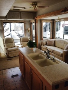 Sept. 25, 2014 We looked at a lot of used models, including this one. OMG. If the Golden Girls had lived in a 5th wheel? We're standing in it.
