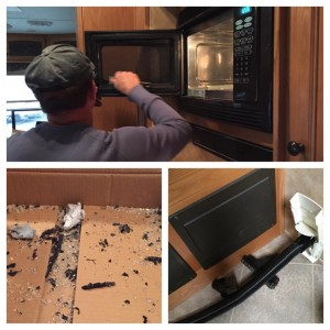 """Oct. 31, 2014 Turns out? The fancy crackle pattern in our microwave/convection oven door? Not a pattern. Which I deduced when I reheated my dinner leftovers and found little crumbs of glass on the ledge inside the door. Oh. Well, shit. Two phone calls and $60 later, a replacement glass panel was on the way, and two weeks later we did the work. If """"RV With a Central Vac Appreciation Day"""" isn't a holiday, well then it should be. Teensy weensy shards were all over the damn place, including inside shirts and all up in my ponytail."""
