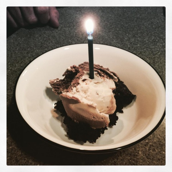 OK, so the brownies stuck to the pan, but I found a birthday candle in here, dammit. I win.