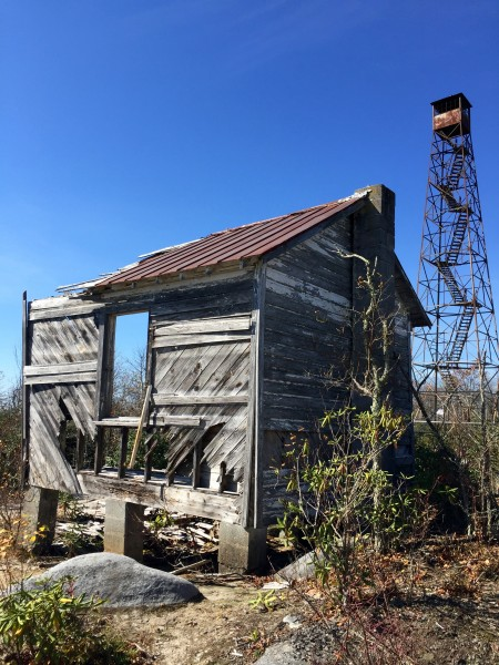 Abandoned fire tower and ranger's cabin on Middle Knob