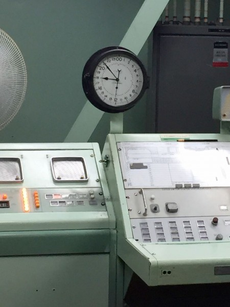 The launch clock: kept on Zulu time, wound weekly. The Cold War world was also an analog world.