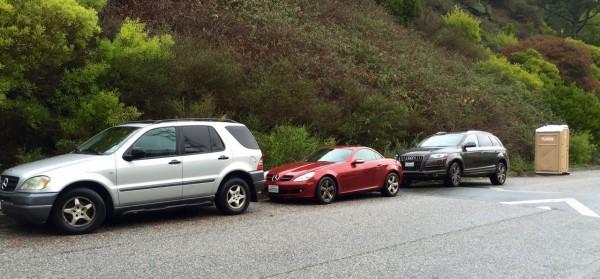 Parking in San Fran: Mercedes, Mercedes, Audi, potty