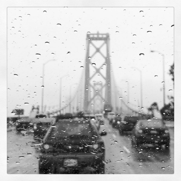 Across the Bay Bridge we went, on the dreariest possible day.