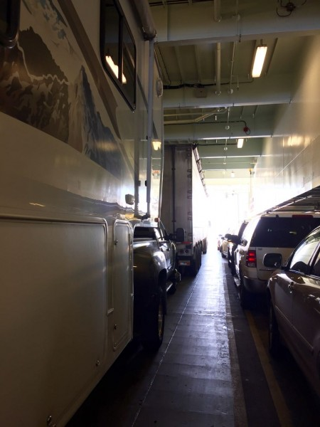 Packed in tight, with 18-wheelers in front, behind, and on our left side. They make us look petite.