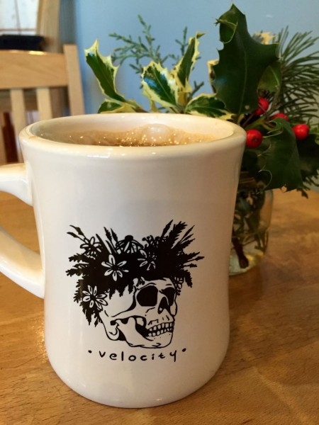 I warmed up afterwards with a perfect cuppa joe at Velocity, while I waited for the scouts to return.