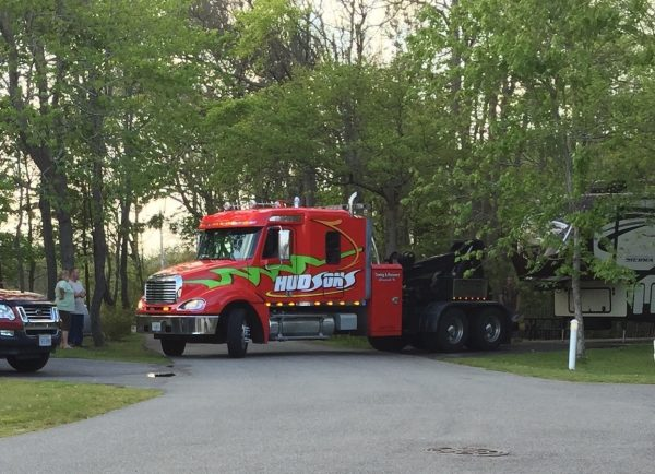 We're not sure why this fifth wheel was towed out of the park, but we were mightily impressed by how it was done!