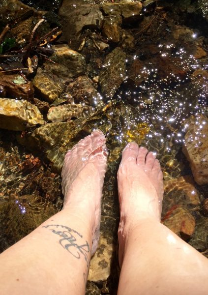 ... and cool tired tootsies (downstream from the filtration experiments, of course!)