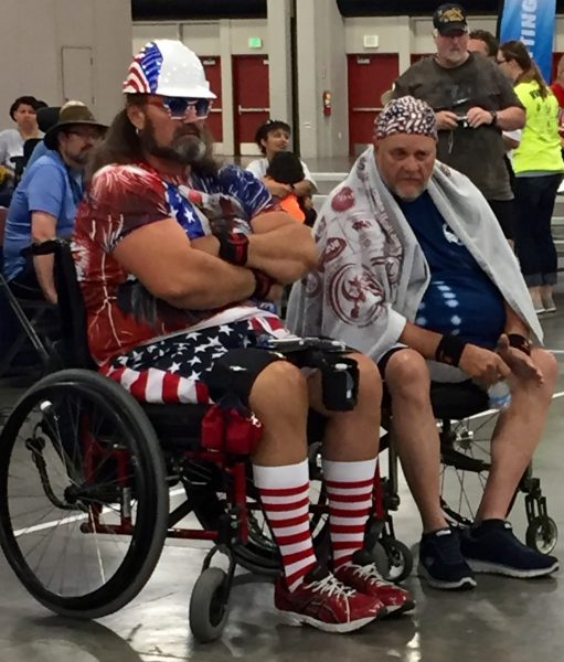 Many athletes pulled out all the patriotic stops in dressing for the occasion. At least one had red, white, and blue hair.