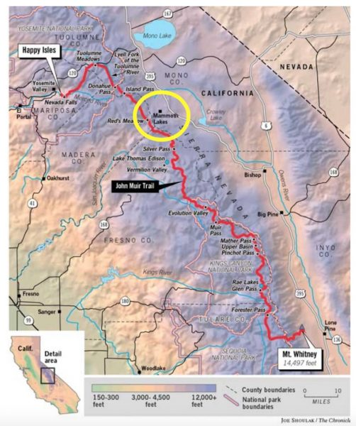 Due to jumping a little late into the permitting process, my guys had to start their hike there inside the yellow circle at Red's Meadow last weekend and go north. Next week, I'll drop them off at Red's Meadow again, and they'll complete the southern part of the trail.
